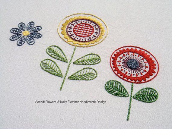 Patron para bordar a mano escandinavos modernos anticuados flores - patrón de bordado moderno PDF, descarga digital