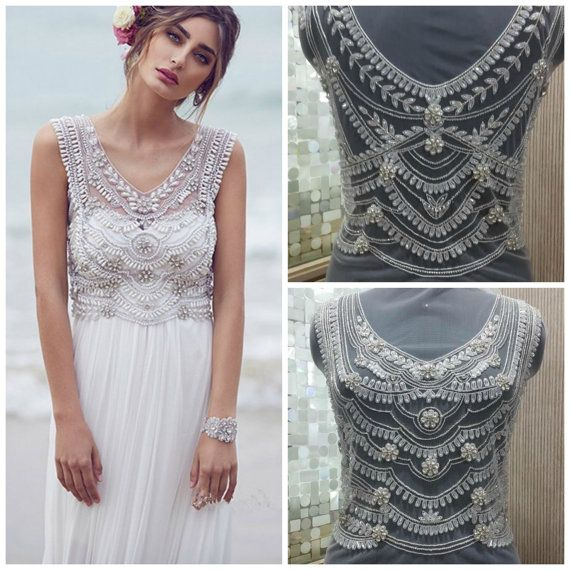 Hand Beaded and Embroidered WEDDING DRESS Bodice Top, Marchesa Inspired - MARCI