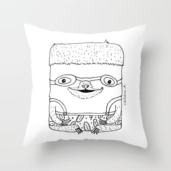 Buy The Doodle Series: Swimming Sloth Throw Pillow by cuteOshenii. Worldwide shipping available at Society6.com. Just one of millions of high quality products available.