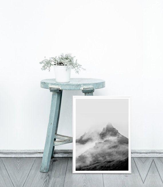 Photography Print Mountains Print Black and by PrintsMiuusStudio
