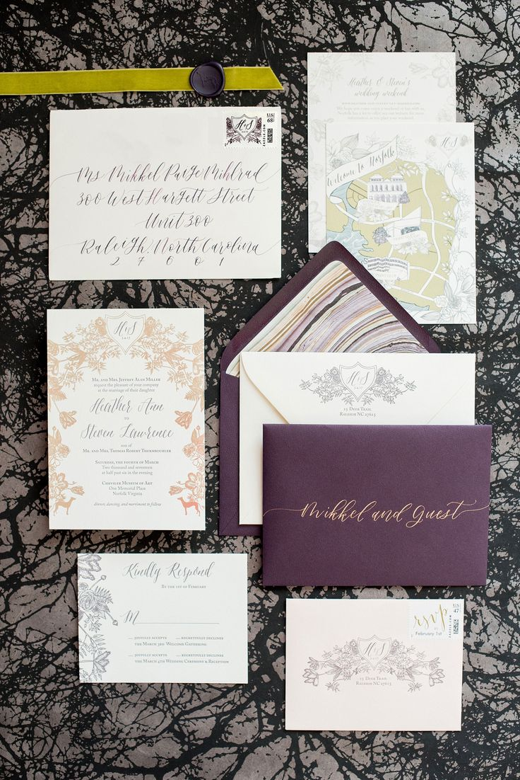 luxury wedding invitations dallas%0A Mikkel Paige Photography image of a wedding invitation suite in purple   grey and copper by