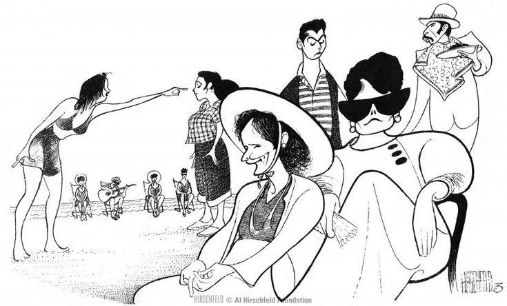 "Al Hirschfeld ~ Dianne Wiest, Frances Conroy, Kali Rocha, Alina Arenal, Liev Schreiber, and Jaime Tirelli in ""In the Summer House"""
