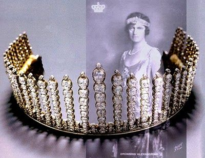 """The Danish Fringe Tiara    """"The Tiara fringe that belonged to the Grand Duchess Anastasia Mikhailovna Romanova of Russia, granddaughter of Nicholas I, it was presented by her uncle, Tsar Alexander II, when Anastasia married the Grand Duke of Mecklenburg-Schwerin. Her daughter Augusta Alexandrina of Mecklenburg-Schwerin, consort of Christian X of Denmark, inherited the tiara from her Russian mother and then bequeathed it to her second son, Canute, Prince of Denmark."""""""