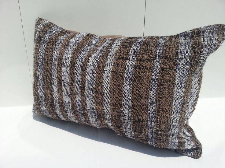 Striped Lumbar Pillow,16x24 Turkish Pillow Lumbar Pillow, Overdyed Pillow, striped Kilim Pillow Cushion Cover by Simavrug on Etsy