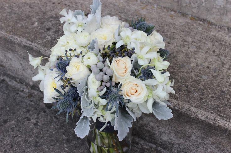 Navy Blue And Gray Silver Bridal Bouquet Wedding Flowers