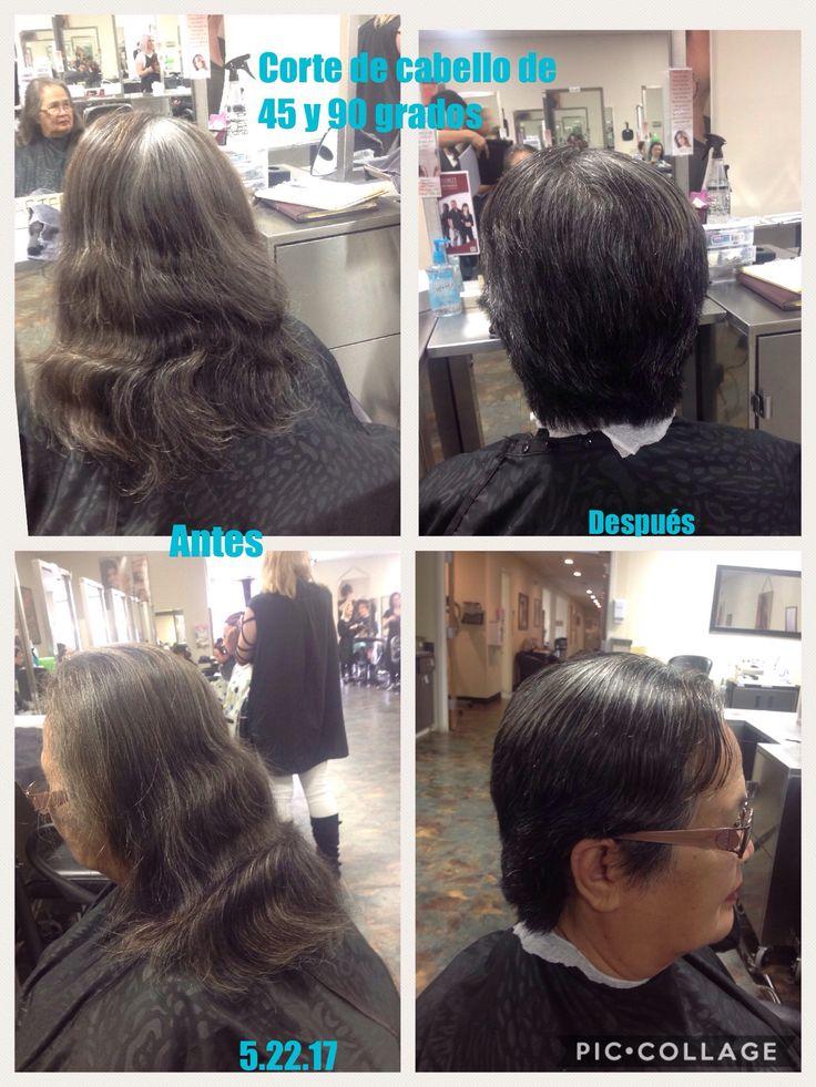 Antes y después de hacer un corte de cabello a 45 y 90 grados. En la parte posterior de la nuca hasta en hueso occipital corte a 45 grados y del hueso occipital para arriba corte a 90 grados.