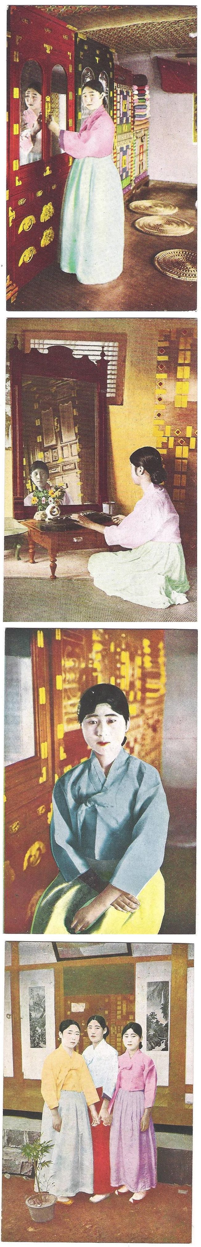 """Geisha beauties"" Japanese-made postcards colorized in late 1930s."