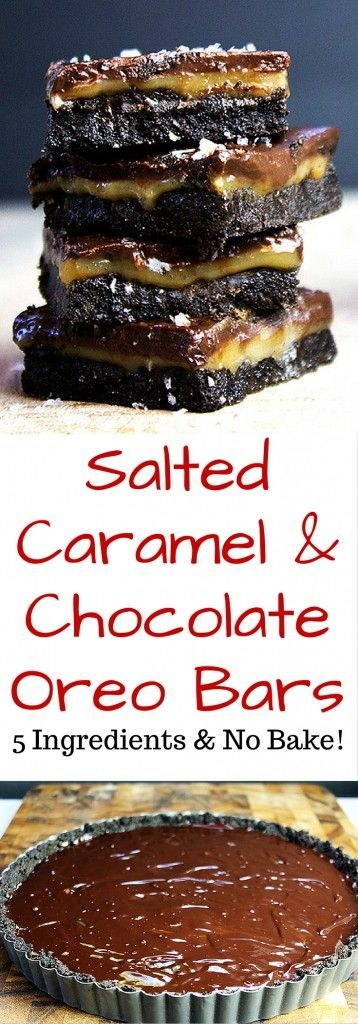 Five ingredients (ok, ok, and salt!) and about 10 minutes on the stovetop are all that stand between you and these ridiculously indulgent amazing Salted Caramel & Chocolate Oreo Bars that are no bake!
