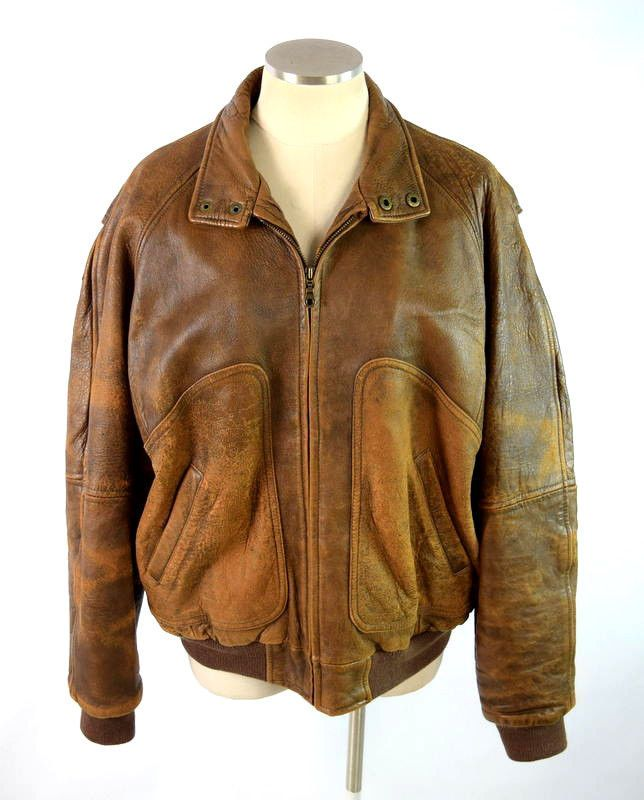 Vtg 90s Context Distressed Brown Leather Bomber Flight Blanket Lined Jacket M Context Casual Leather Jacket Men Leather Jacket Style Jackets