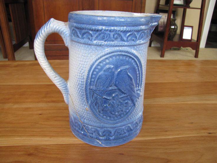 Love Bird Pitcher Blue White Stoneware Salt Glaze Pot