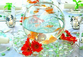 DIY centerpiece with goldfish and gerbera daisies: Centerpiece Ideas, Beach Centerpiece, Wedding Ideas, Non Floral Centerpieces, Party Ideas