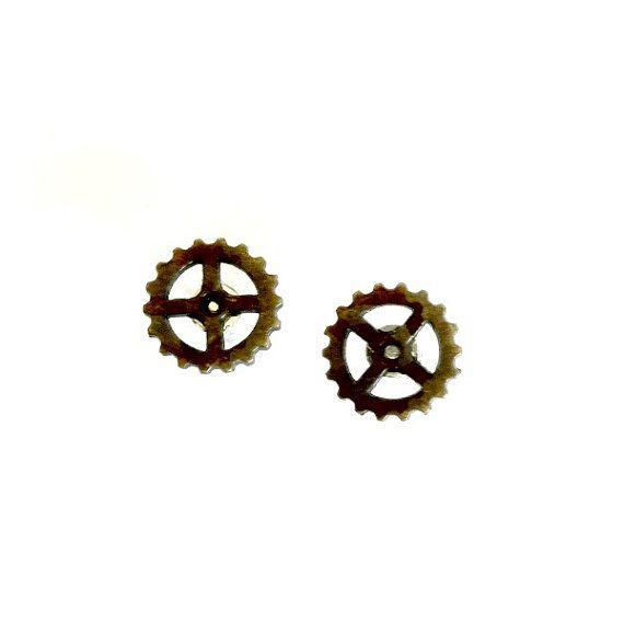 Bronze Gear Stud Steampunk Earrings by AuntMatildasJewelry on Etsy, $9.99