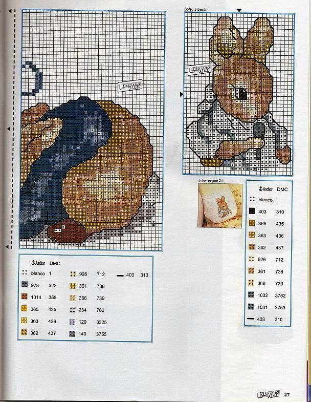 schema punto a croce coniglietto Beatrix Potter | Hobby lavori femminili - ricamo - uncinetto - maglia