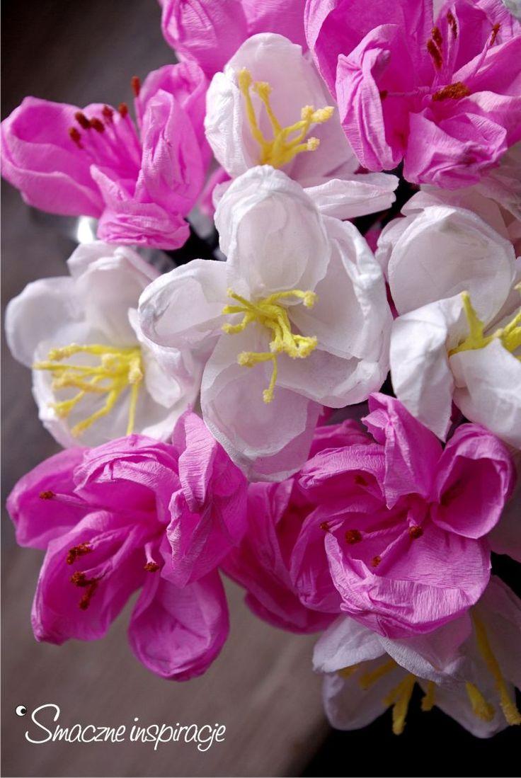 1_ Jak zrobić kwiaty jabłoni śliwowiśni z bibuły