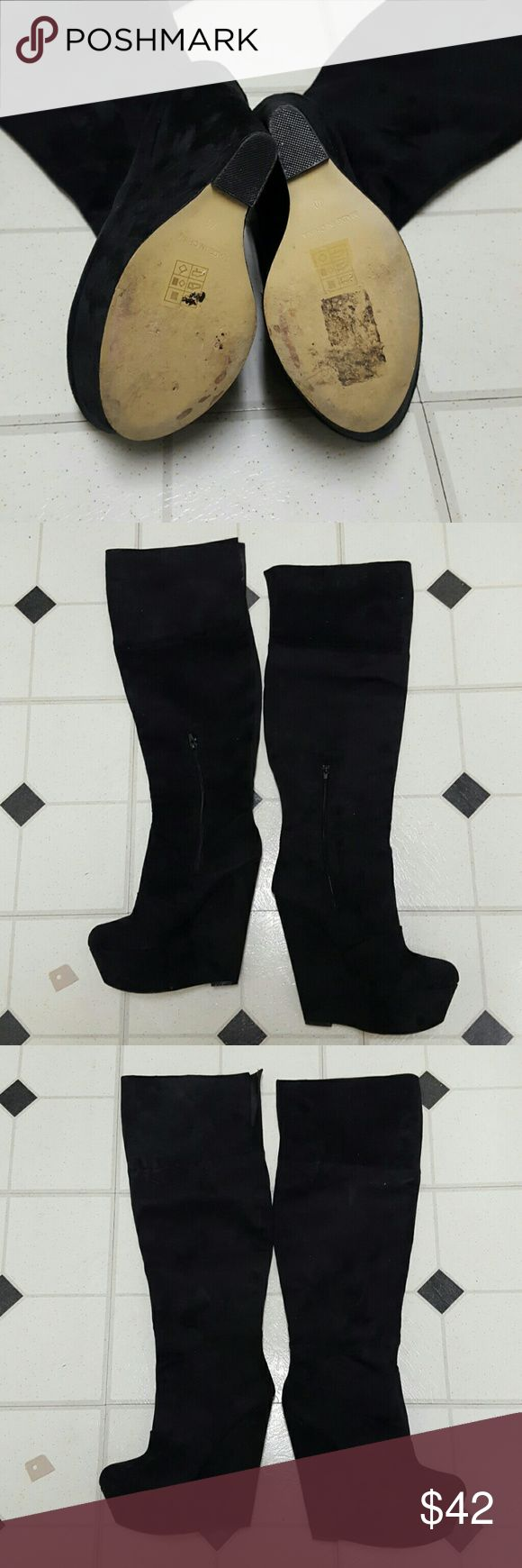 River island over knee wedge boots Beautiful black suede wedge boots. Listed as eu40 but fits more like a US 9 River Island Shoes Over the Knee Boots