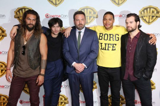 Jason Momoa, Ray Fisher, Ezra Miller, Ben Affleck and Henry Cavill attend CinemaCon 2017- Warner Bros. Pictures: The Big Picture, An Exclusive Presentation of Its Upcoming Slate at Caesars Palace during CinemaCon on March 29, 2017 in Las Vegas Nevada.