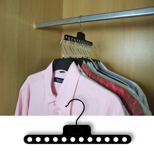 Pack of 6 SPACE SAVING WARDROBE COAT HANGERS CLOTHES GARMENT - Ingenious design for small depth clothes rails by HANGERWORLD, http://www.amazon.co.uk/dp/B0033HXNLA/ref=cm_sw_r_pi_dp_Xp9Zsb0PYRZHA