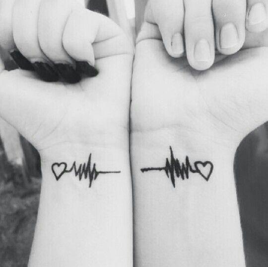 Heartbeat couple tattoos: