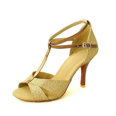 Customizable Women's Dance Shoes Latin/Salsa Sparkling Glitter Customized  Heel Black/Blue/Red