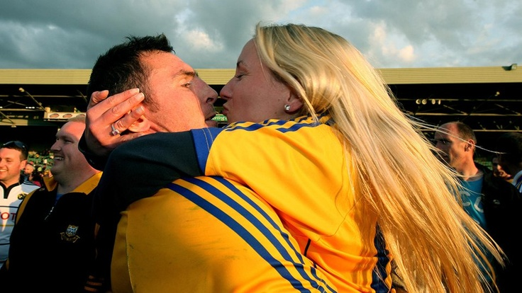 Clare's Alan Clohessy celebrates victory over Limerick with a supporter