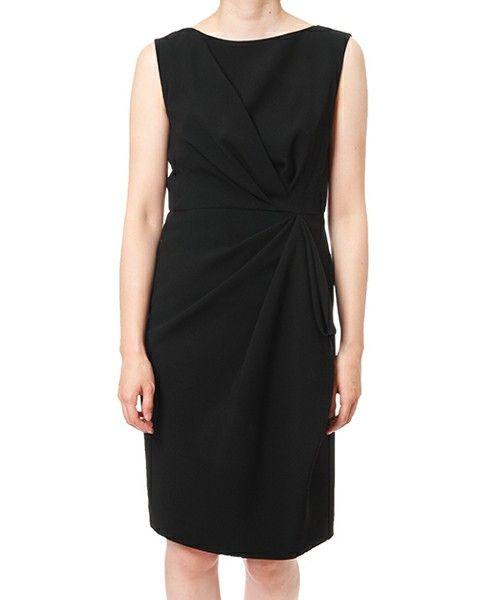 GRACE CONTINENTAL(グレースコンチネンタル)の「ドレープタックワンピース(ドレス)」|ブラック