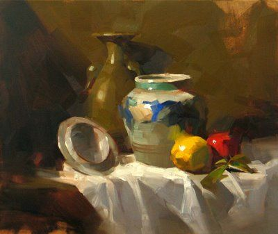 """Daily Paintworks - """"Pot from Mexico"""" - Original Fine Art for Sale - © Qiang Huang"""