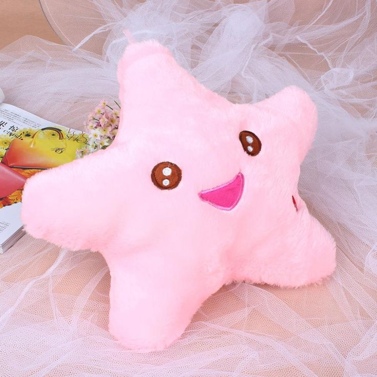 Battery powered decorative flashing led light plush pink smiling star cushion pillow | worth buying on AliExpress
