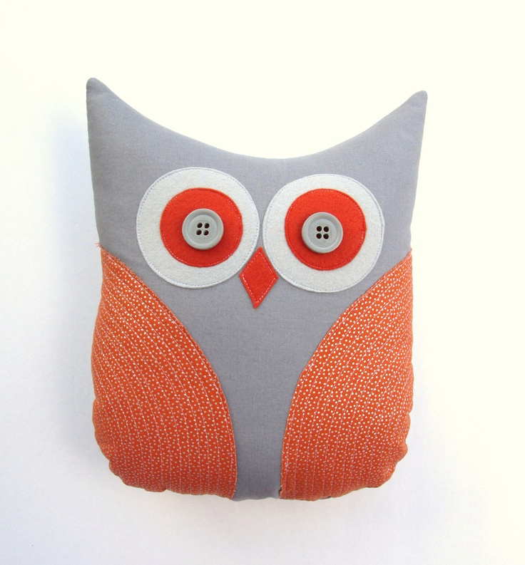 decorative owl pillow burnt orange grey silver dot