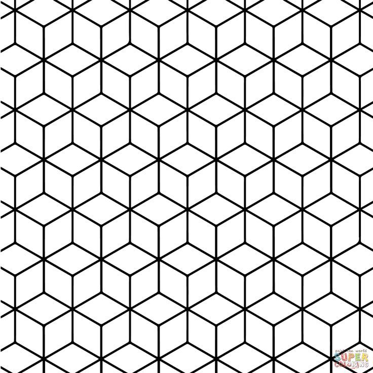 Geometric Tessellation With Rhombus Pattern Coloring Page Free Geometric Tessellation With Rhombus Pattern Coloring Desenler Doodle Desenleri Cizimler