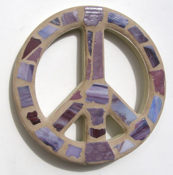 Stained Glass Peace Sign Wall Art Purple Decor Mosaic Art