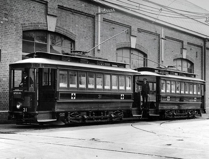 Ambulance trams, parked at Randwick Tramway Workshops, Sydney, NSW ca. 1915. v@e