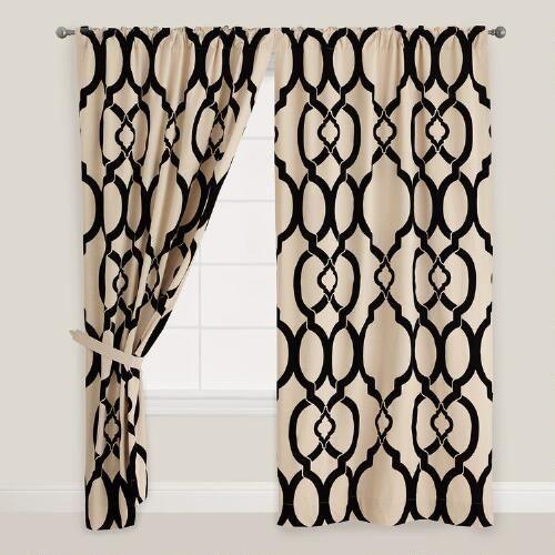 Black Trellis Ethel Flocked Chambray Curtain | World Market