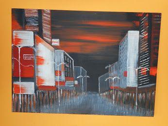 Stadt in der Dämmerung - in Acryl