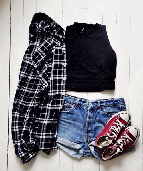 black shirt high waisted denim shorts red converse and a black and white flannel