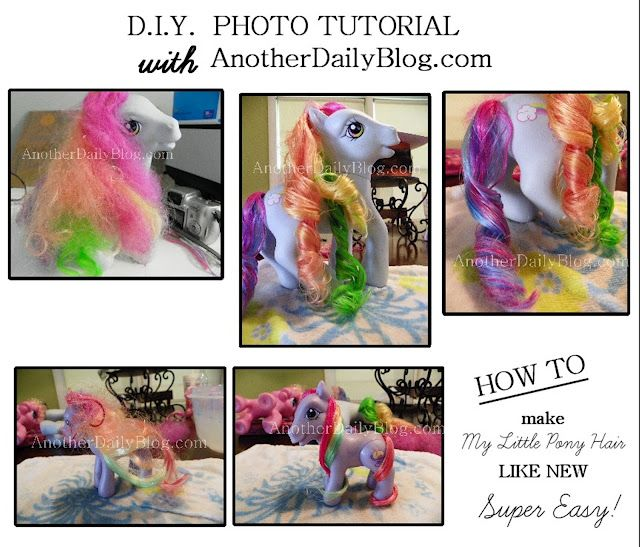 How to detangle My Little Pony Hair, How to recurl My Little Pony Hair, fixing tangled doll hair