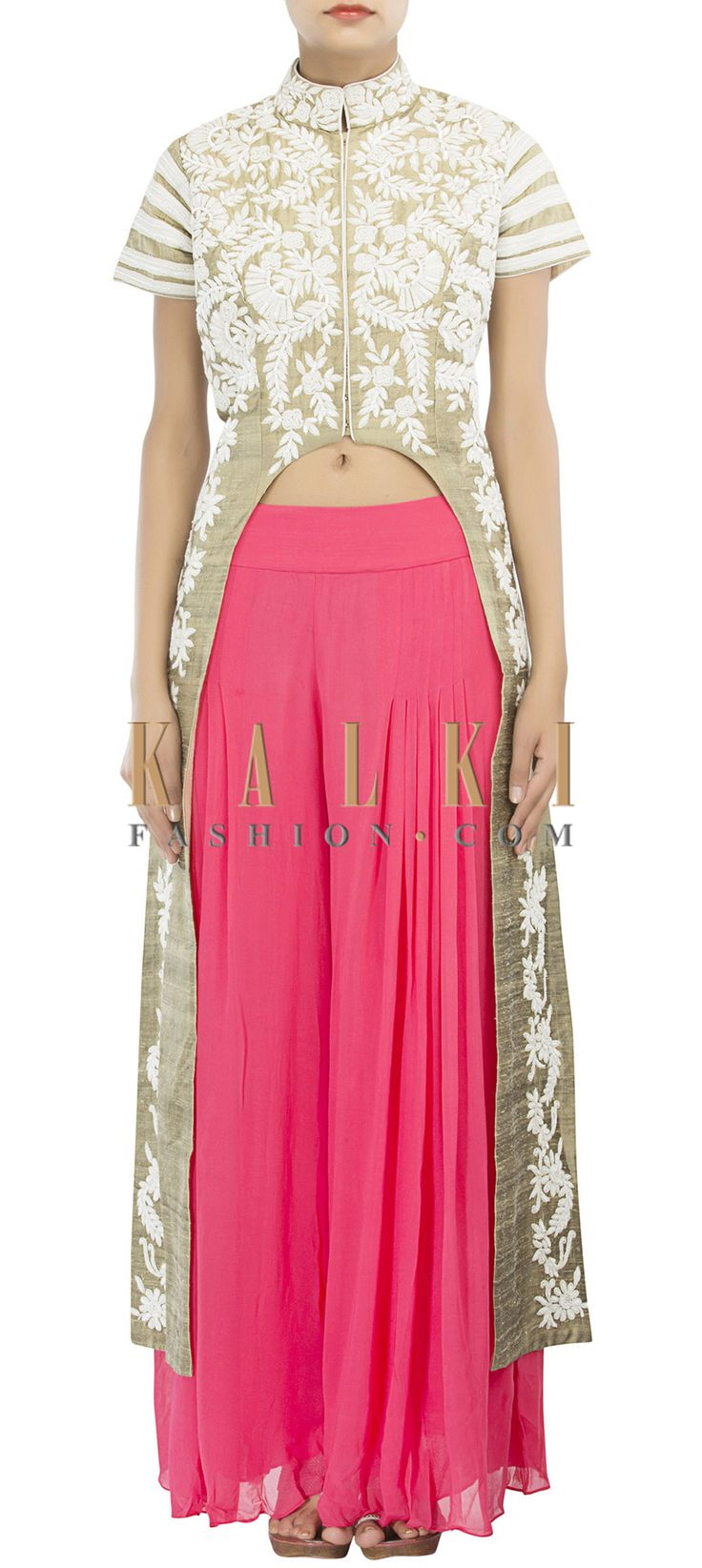 Buy Online from the link below. We ship worldwide (Free Shipping over US$100) http://www.kalkifashion.com/sand-grey-suit-adorn-in-thread-and-sequin-embroidery-only-on-kalki.html