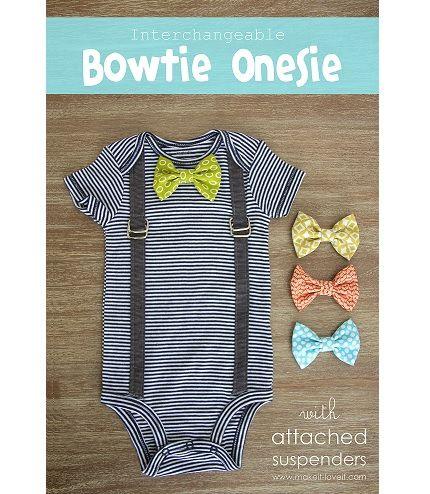 Tutorial: Baby boy suspender onesie with interchangeable bow tie