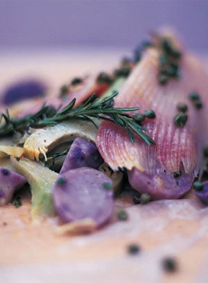 Skate baked in the bag with artichokes, purple potatoes, capers and crème fraîche  - Jamie Oliver