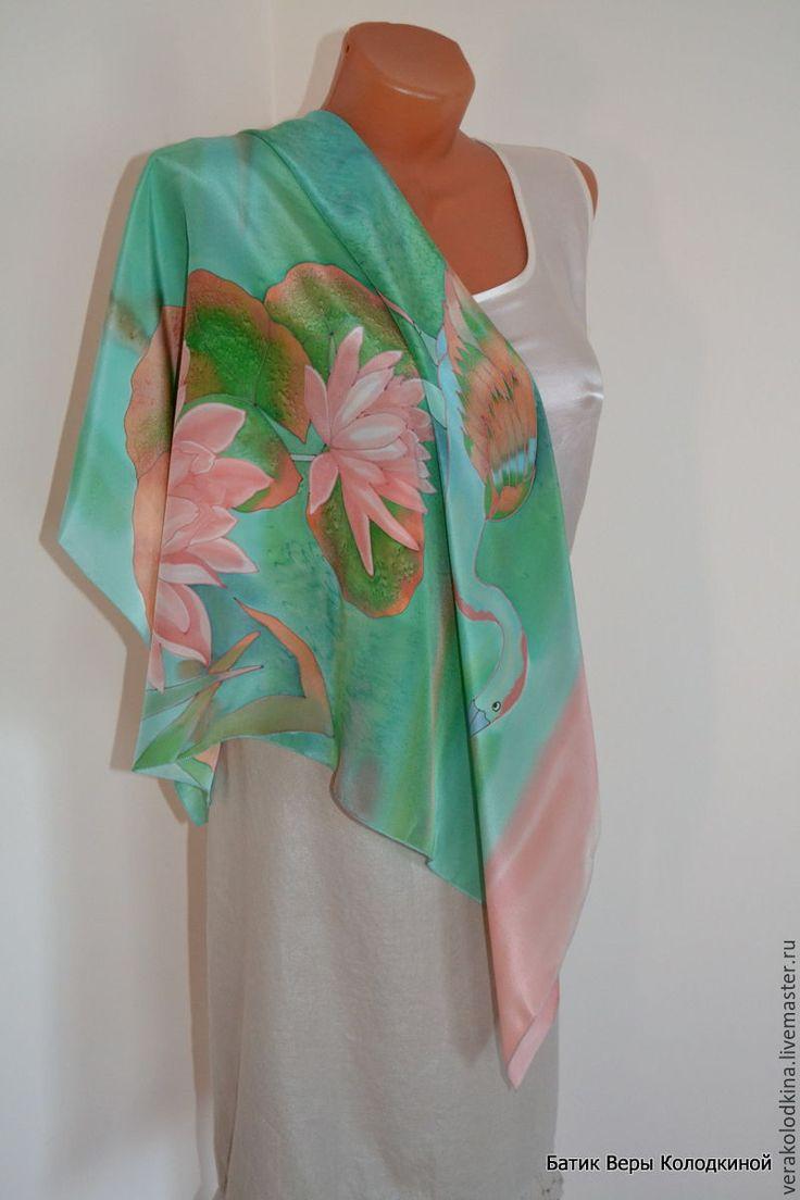 """Купить Платок шёлковый """"Розовые лилии"""" - комбинированный, рисунок, розовый цвет, зеленый цвет"""