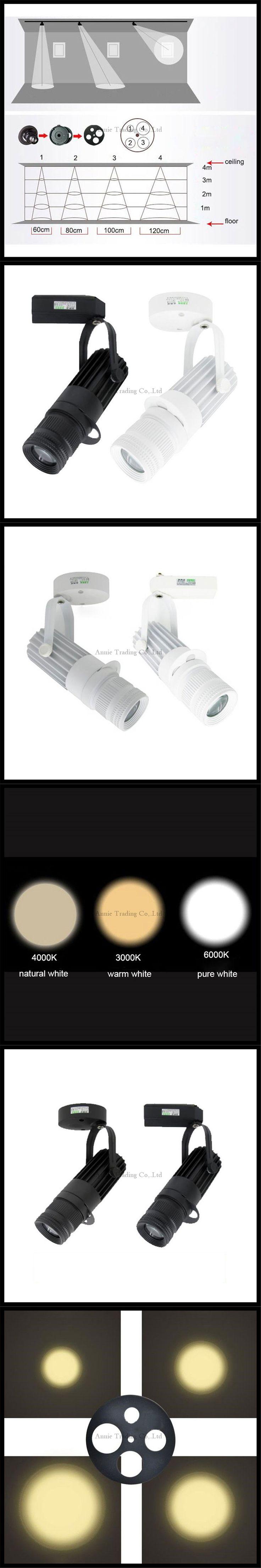 Industrial LED follow spot projector 3W 7W 10W 15W led ceiling spotlights black white tracking spot lamp 4 logo Projection lamp