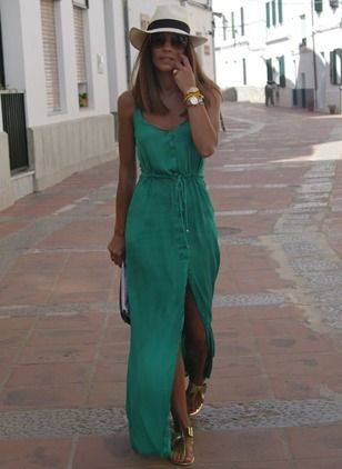 Bawełna Solidny Bez rękawów Maxi Nieformalny Sukienki (1036125) @ floryday.com