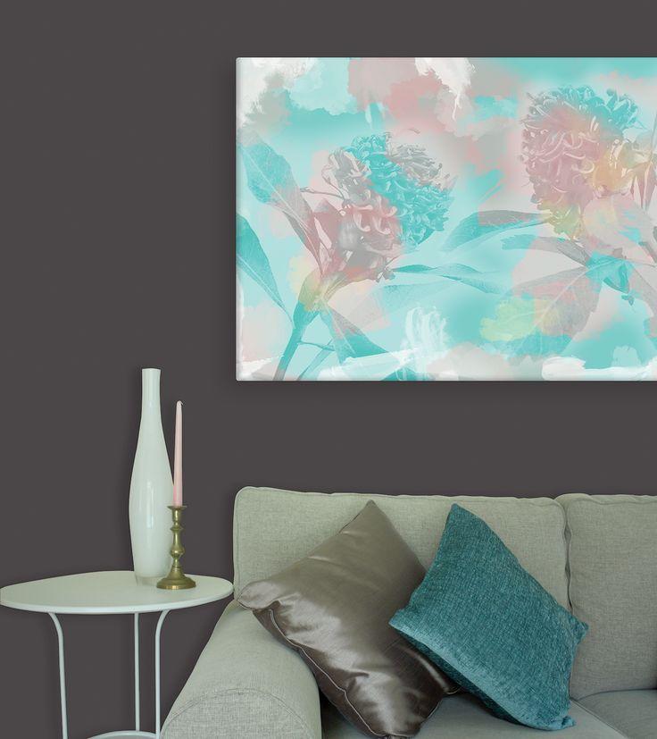 Waratah Canvas in Aqua and Pink from Wallstudio. Australian wall art canvas.