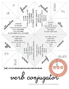 teach regular verbs and some common irregular verbs with our verb conjugator-fortune teller size