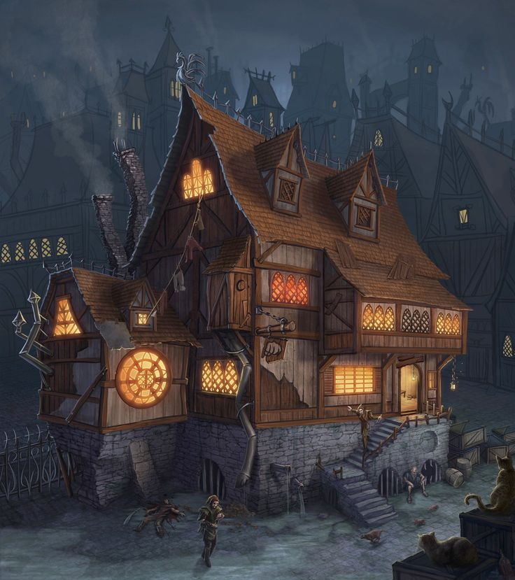 'Left hook' Tavern by Takeda11       Reminds me of the tavern inns in 'fable'.....poor dead guy lol