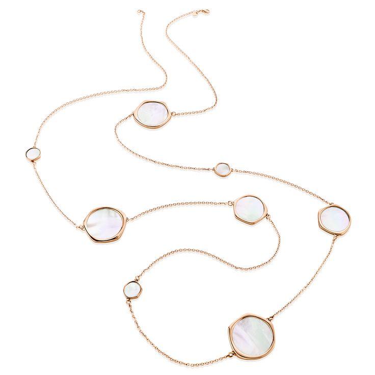 Κολιέ Aura Collection από ροζ επιχρυσωμένο ασήμι 925º με mother of pearl
