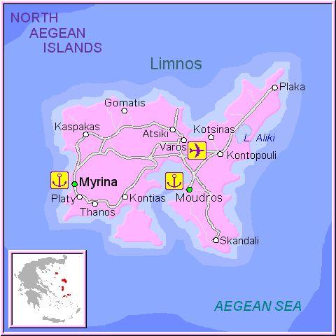 Mapa de la isla de Limnos, en las Islas Griegas Cícladas, Cýcladas, Grecia.