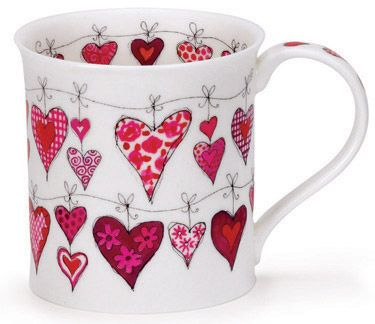 Dunoon - Fine Bone China Mugs - Bute Shape : Heart Strings Pink! cute