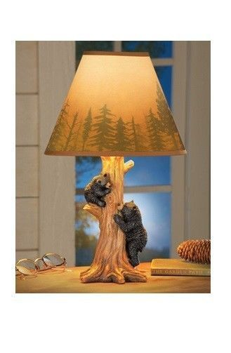 Climbing Bear Family Statue Accent Table Desk Lamp W/ Evergreen Trees Tan  Shade