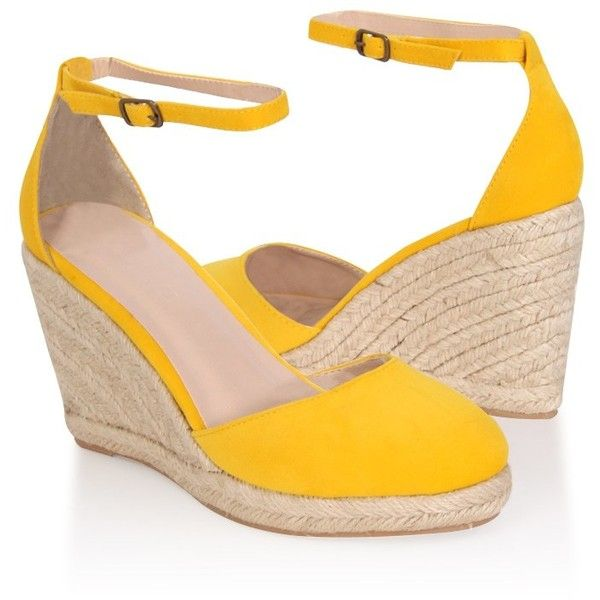 Forever21 Velvet Espadrille Wedges ($8) ❤ liked on Polyvore featuring shoes, sandals, yellow, yellow sandals, wedge espadrilles, espadrille wedge sandals, espadrille sandals and yellow wedge sandals