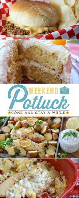 Weekend Potluck #257 features at Served Up With Love. Mandarin Orange Cake, Tavern Sandwiches, Hot Potato Chip Chicken Salad Casserole, and One Pan Greek Lemon Chicken and Potatoes